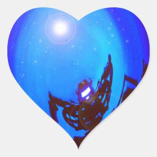 Robot kicking butt, in outer space. heart sticker