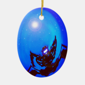 Robot kicking butt, in outer space. christmas tree ornament