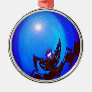 Robot kicking butt, in outer space. ornament