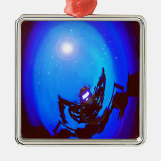 Robot kicking butt, in outer space. christmas tree ornaments