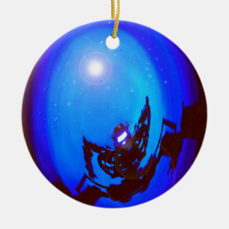 Robot kicking butt, in outer space. christmas ornaments