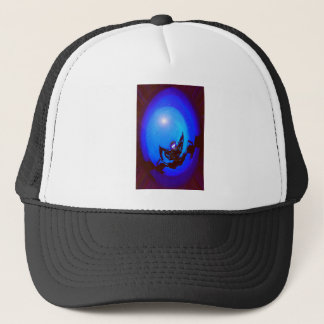 Robot kicking butt, in outer space. trucker hat