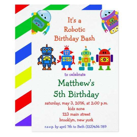 robot kids birthday party invitation zazzle com