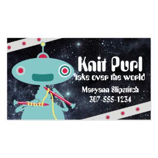 Robot knitter knitting needles space universe business card