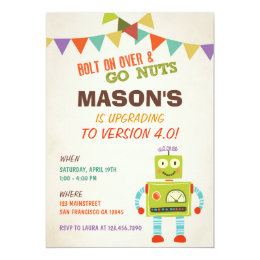 Robot birthday invitations announcements zazzle robot lets go nuts birthday party invitation filmwisefo Images