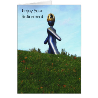 Robot Like Sculpture Retirement Greeting Card