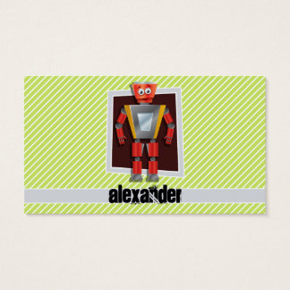 Robot; Lime Green & White Stripes Business Card