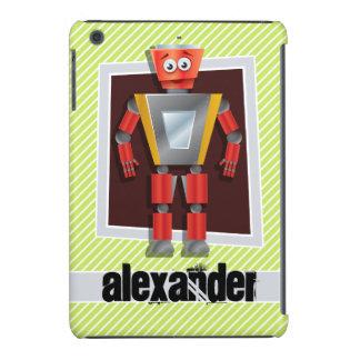 Robot; Lime Green & White Stripes iPad Mini Retina Covers