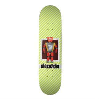 Robot; Lime Green & White Stripes Skateboard