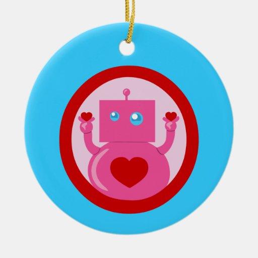 Robot lindo del amor adorno redondo de cerámica