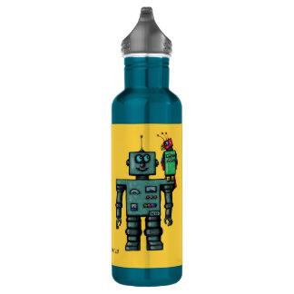 Robot lindo divertido con la botella robótica del