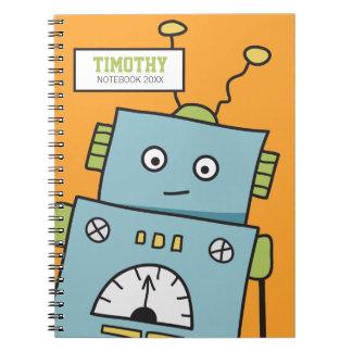 Robot lindo en el cuaderno anaranjado de Personali
