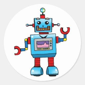 Robot lindo etiqueta redonda