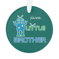 Robot Little Brother Personalized Kids Sibling Ornament