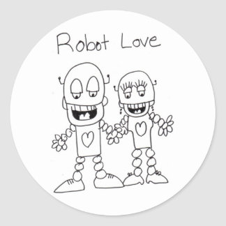 Robot Love Classic Round Sticker