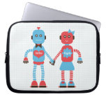 Robot Love Personalized Laptop Sleeve for Couples