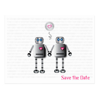 Robot Love Save the Date Postcard