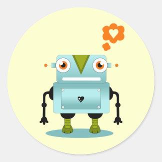 Robot Love Round Stickers