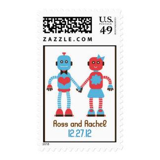 Robot Love Wedding Postage Stamps