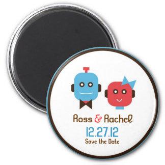 Robot Love Wedding Save the Date 2 Inch Round Magnet