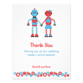 Robot Love Wedding Thank You Invite