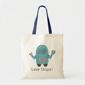 Robot Loves Computer Chips Canvas Bags