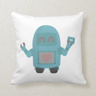 Robot Loves Computer Chips Throw Pillow