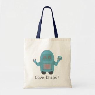 Robot Loves Computer Chips Tote Bag