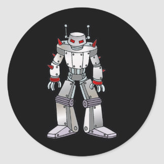 Robot malo con los puntos pegatina redonda
