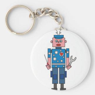 Robot Mechanic Basic Round Button Keychain
