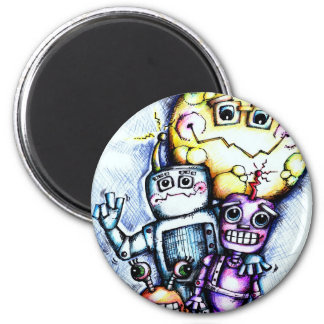 Robot Moon Refrigerator Magnet