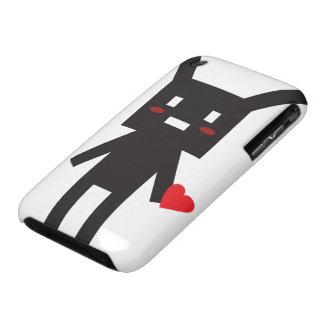 Robot negro del conejito en amor Case-Mate iPhone 3 fundas