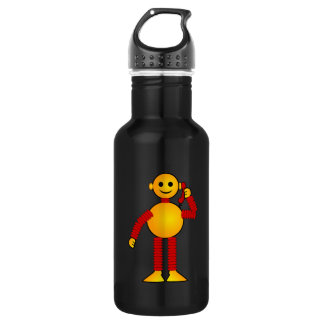 Robot on the phone cartoon 18oz water bottle