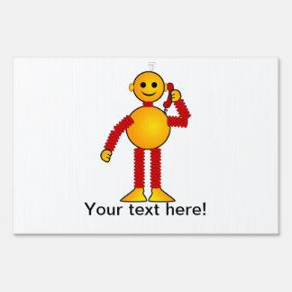 Robot on the phone cartoon sign