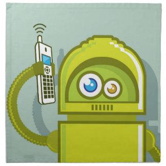 Robot on The Phone Vector Icon Cloth Napkin