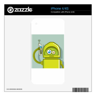 Robot on The Phone Vector Icon Decal For The iPhone 4