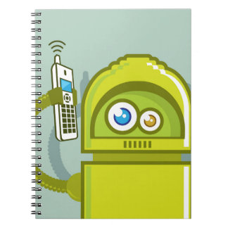 Robot on The Phone Vector Icon Notebook
