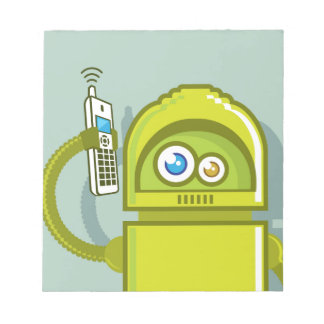 Robot on The Phone Vector Icon Notepad