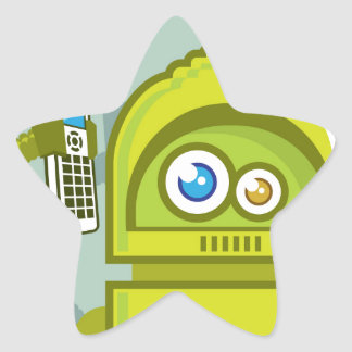 Robot on The Phone Vector Icon Star Sticker