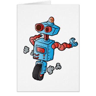 robot on wheel . card