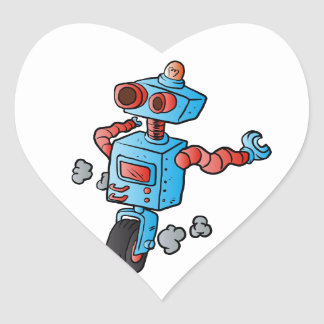 robot on wheel . heart sticker