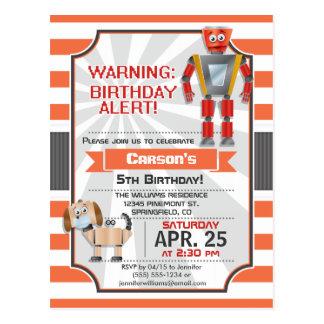 Robot; Orange & White Stripes Birthday Party Post Card