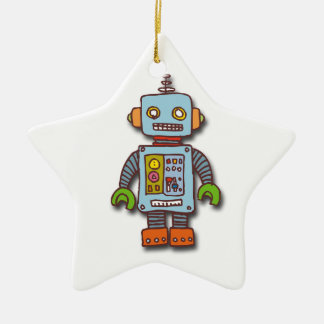 Robot Double-Sided Star Ceramic Christmas Ornament