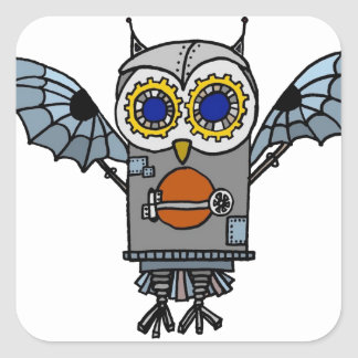Robot Owl Square Sticker