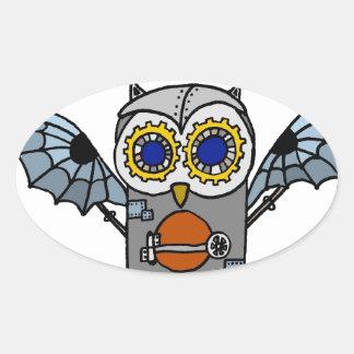 Robot Owl Oval Sticker
