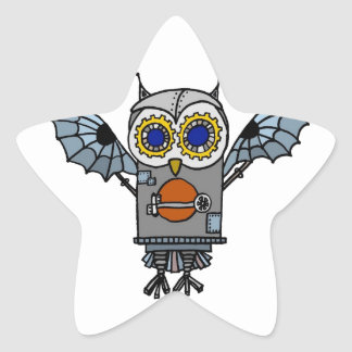 Robot Owl Star Sticker