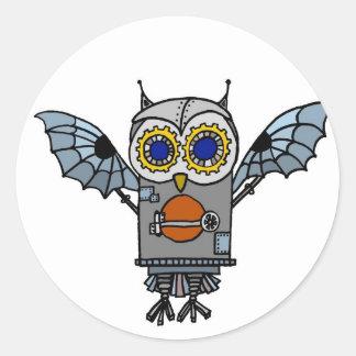 Robot Owl Classic Round Sticker