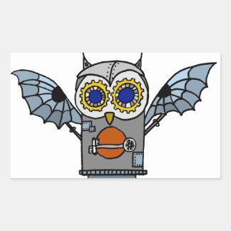Robot Owl Rectangular Sticker