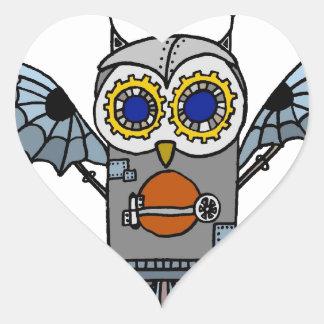 Robot Owl Heart Sticker
