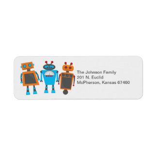 Robot Party Return Address Label